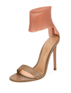 Roma Leather And Latex Two Tone Sandal by Neiman Marcus