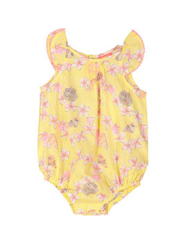 Yellow Frangipani Printed Romper by Sunuva