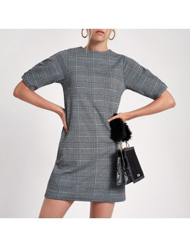 Black Check Ponte Swing Dress by River Island