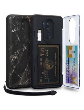 Toru Cx Pro Lg G7 Wallet Case Pattern With Hidden Id Slot Credit Card Holder Hard Cover, Strap, Mirror & Usb Adapter For Lg G7 / Lg G7 Thin Q   Black Marble by Toru