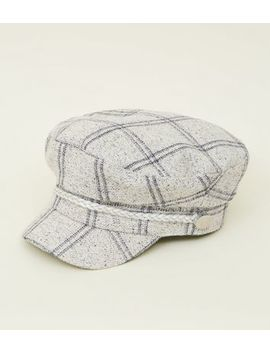 Cream Check Baker Boy Hat by New Look