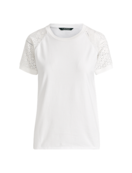 Eyelet Sleeve Cotton Top by Ralph Lauren