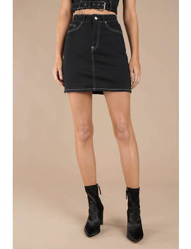 Ciara Black Contrast Stitch Mini Skirt by Tobi