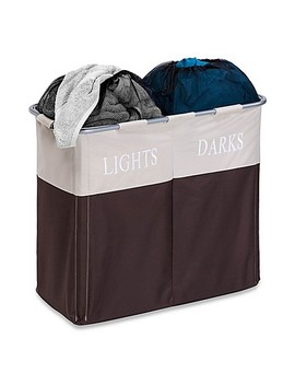 Honey Can Do® Dual Compartment Laundry Hamper In Brown/Taupe by Bed Bath And Beyond