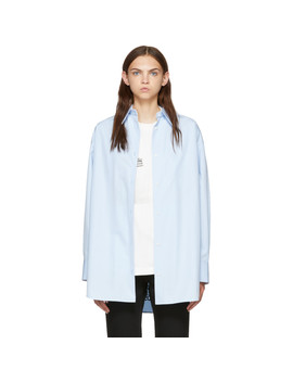 Blue Oversized Twisted Poplin Shirt by Calvin Klein 205 W39 Nyc