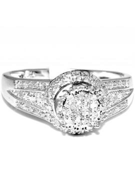 Halo Diamond Engagmenet Promise Ring 10mm Wide 0.23ctw Pave Set Diamonds Sterlin by Midwest Jewellery