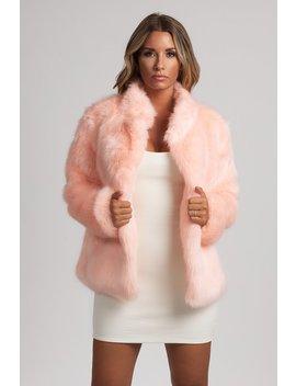 Baia Faux Fur Coat With Collar   Pink by Meshki