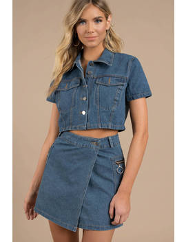 Rehab Clothing Sorry, Not Sorry Medium Wash Button Down Denim Top by Tobi