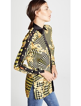 Print Button Shoulder Blouse by Versace
