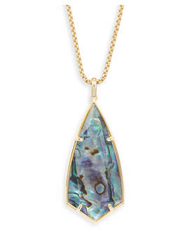 Carole Gold Long Pendant Necklace In Abalone Shell by Kendra Scott