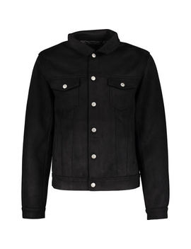 Black Faux Suede Jacket by Mennace