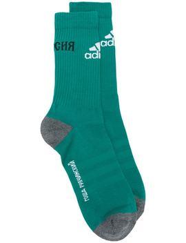 Gosha Rubchinskiy X Adidas Logo Ribbed Socks by Gosha Rubchinskiy
