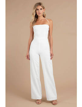 Knock Out White Halter Jumpsuit by Tobi