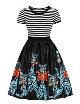 Cartoon Pattern Stripe Contrast Dress by Sheinside