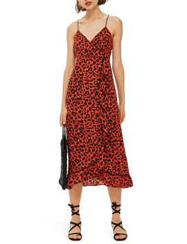 Animal Ruffle Slipdress by Topshop