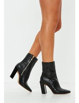 Black Feature Heel Croc Ankle Boots by Missguided