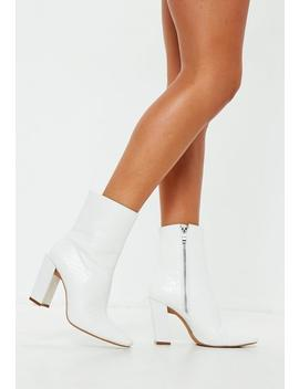 White Feature Heel Croc Ankle Boots by Missguided