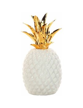 Mainstays Decorative Ceramic Pineapple, White And Gold by Mainstays