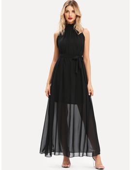 Stand Neck Self Tie Waist Dress by Sheinside