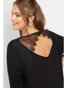 Plus Size Lace Back Pullover by Maurices