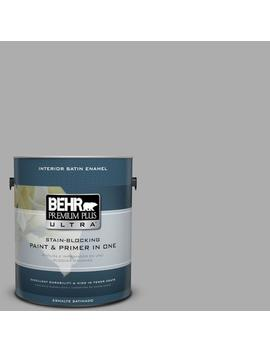 1 Gal. #N520 3 Flannel Gray Satin Enamel Interior Paint And Primer In One by Behr Premium Plus Ultra