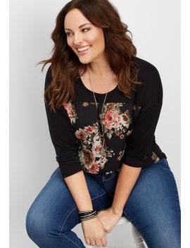 Plus Size Elevated Floral Front Tee by Maurices