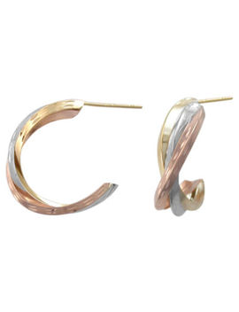 14 K Tri Tone Gold Crossover Hoop Earrings by Fine Jewelry