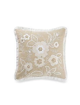 Embroidered Floral Square Throw Pillow In Natural by Bed Bath And Beyond