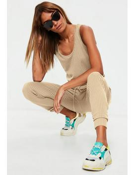 sand-sleeveless-ribbed-jersey-jumpsuit by missguided