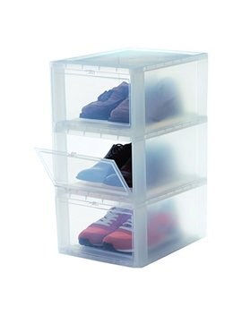 Iris, 3er Set Schuhboxen/Aufbewahrungsboxen Für Schuhe 'drop Front Box', Eudf M, Kunststoff, Transparent, 35,5 X 28 X 18 Cm by Amazon