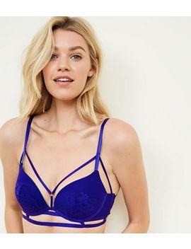 Dark Blue Strappy Lace Longline Push Up Bra by New Look