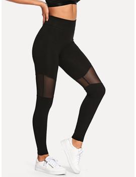 Mesh Contrast Skinny Leggings by Shein