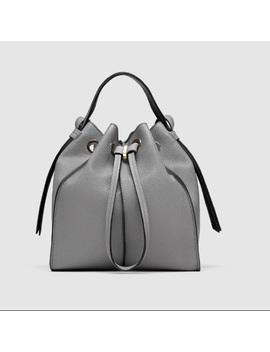 Zara Grey Monochrome Bucket Bag Nwt/New by Zara