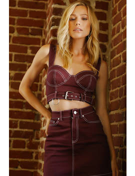 Ciara Maroon Belted Bustier Crop Top by Tobi