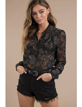 Liza Black Multi Mandarin Collar Button Up Blouse by Tobi