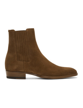 Brown Suede Wyatt Chelsea Boots by Saint Laurent