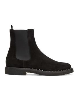 Black Valentino Garavani Suede Soul Rockstud Chelsea Boots by Valentino