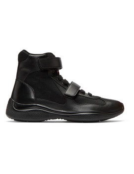 Black Leather & Mesh Velcro High Top Sneakers by Prada