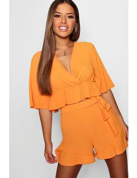 Petite Frill Wrap Woven Co Ord Set by Boohoo