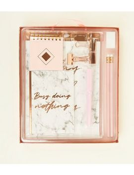 Marble And Rose Gold Large Stationary Set by New Look