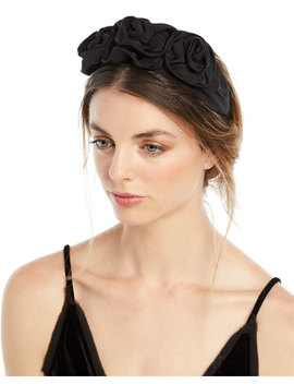 Silk Faille Triple Rosette Headband by Jennifer Behr