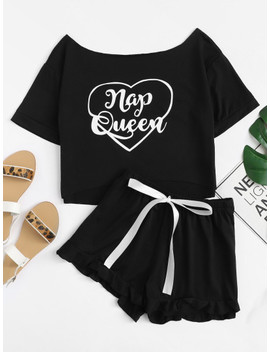 Graphic Short Sleeve Tee & Ruffle Shorts Pj Set by Shein