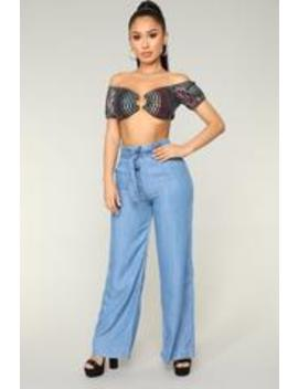 Strong Vibes Tie Waist Pants   Light Blue Wash by Fashion Nova