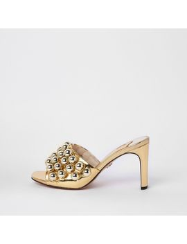 Gold Tone Beaded Heeled Sandals by River Island
