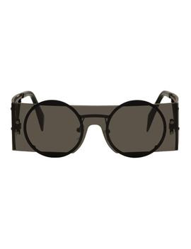 Black Rectangular Sunglasses by Yohji Yamamoto