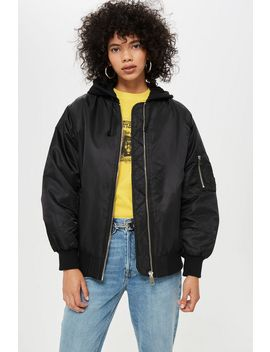 Longline Bomber Jacket by Topshop