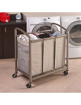 Seville Classics 3 Bag Slanted Handle Mesh Laundry Sorter Hamper Cart In Champagne by Bed Bath And Beyond