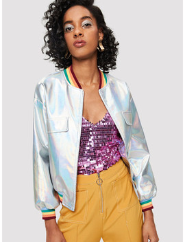 SheinStriped Trim Iridescent Faux Leather Jacket by Shein