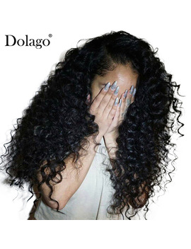 Deep Curly Lace Front Human Hair Wigs For Women 250 Percents Density Brazilian Hair Lace Frontal Wig Pre Plucked Full Dolago Remy by Dolago