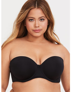 Black Microfiber Push Up Strapless Bra by Torrid